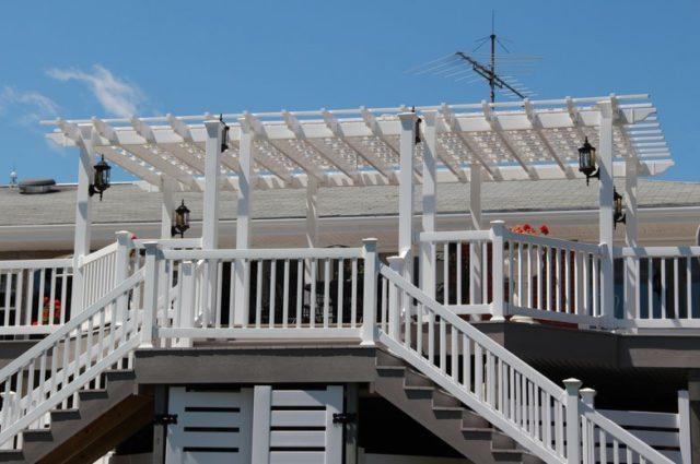 white vinyl pergola installation Hamilton NY