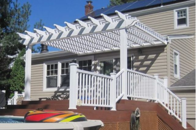 white vinyl pergola installation Bloomfield NJ