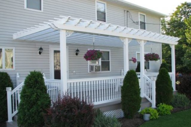 white vinyl pergola with railing Munnsville NY