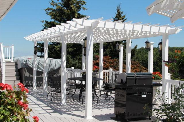 white vinyl patio pergola Hamilton NY