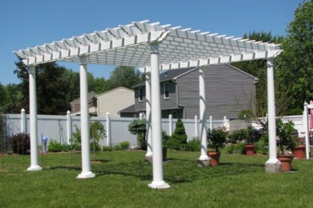white vinyl pergola for sale in Syracuse NY