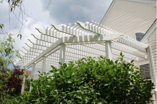 white vinyl pergola installation Marlton NJ