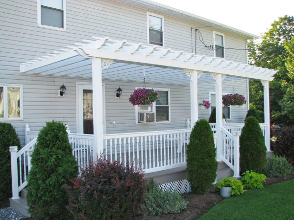 attached white vinyl pergola tuscany large
