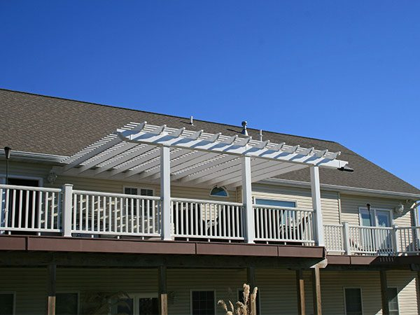 attached white vinyl pergola tuscany medium