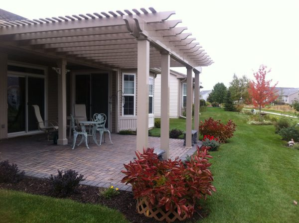 backyard large attached vinyl pergola garden spot