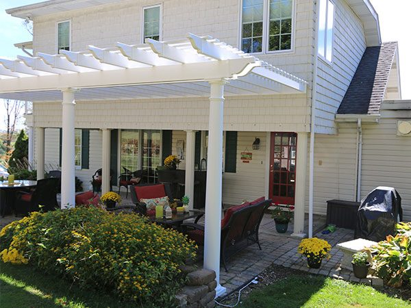 large attached white vinyl pergola tuscany