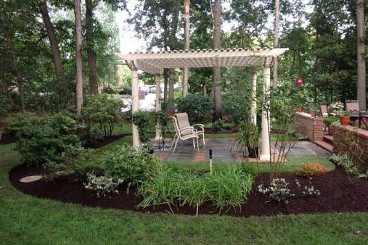 12X12 almond colored pergola for backyard