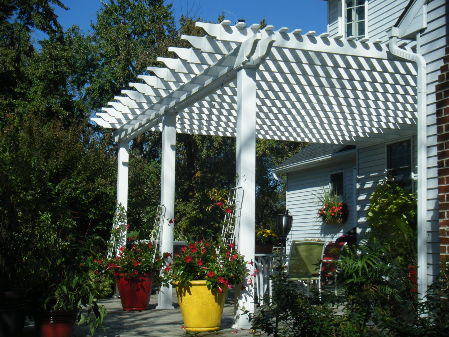 White attached pergola