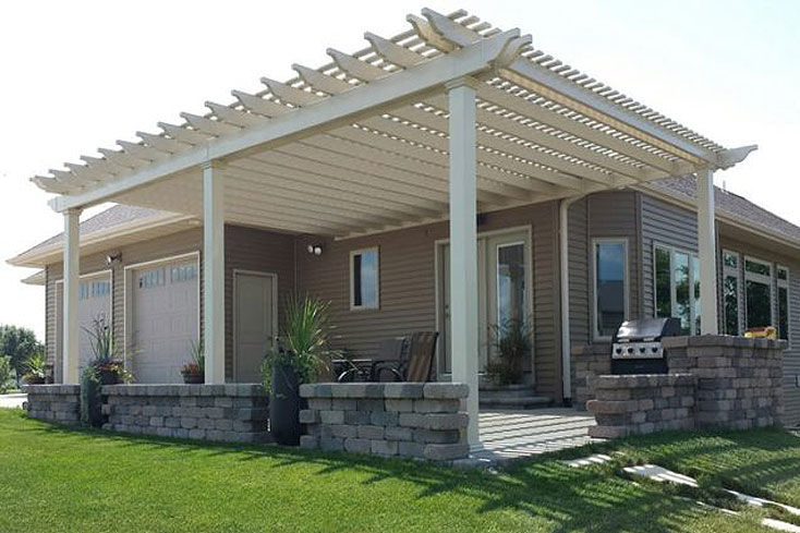 18X26 almond vinyl pergola on patio