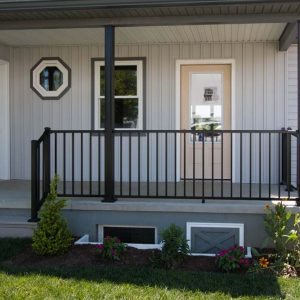 black aluminum railing on deck