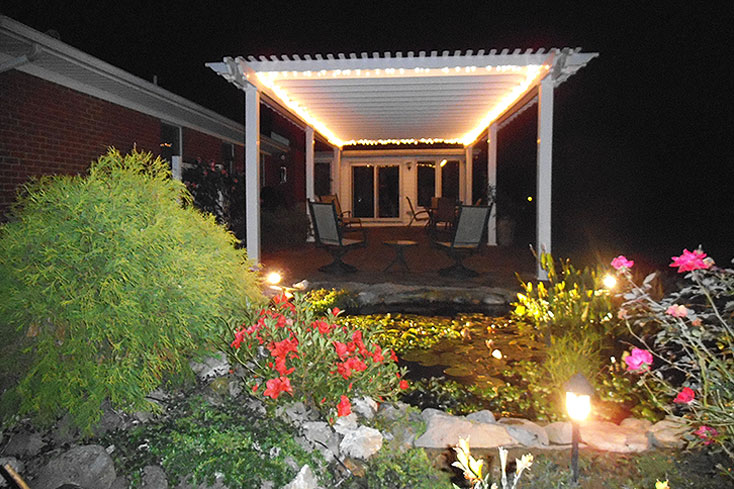 vinyl pergola kit with lights
