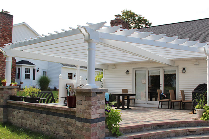 color-matched white vinyl pergola