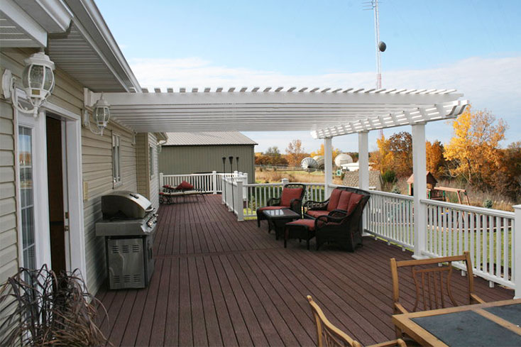 attached pergola for large deck