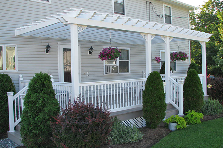 attached front porch pergola