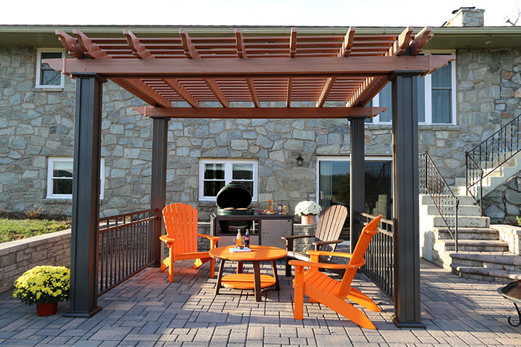 wood colored vinyl pergola