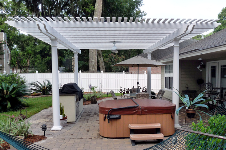 hot tub with a pergola