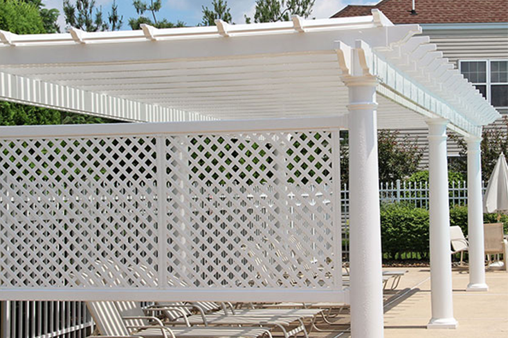 pool pergola in semi shaded lounge area