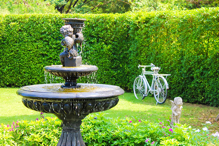 luxury garden designs with water feature