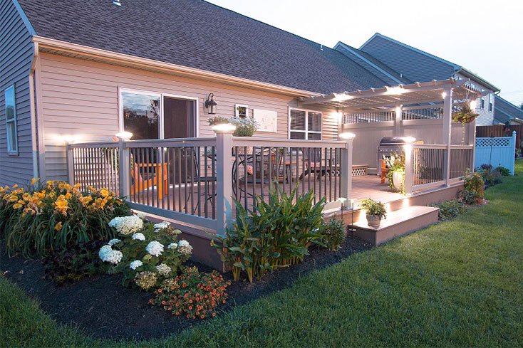 pergola in a garden design with lights