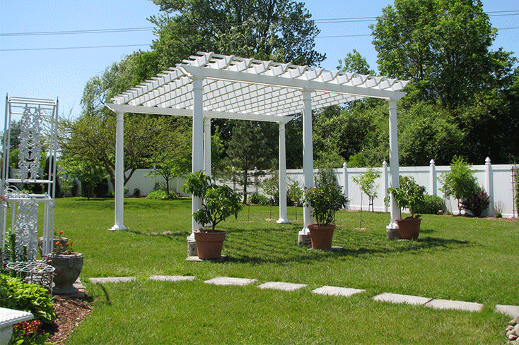pergola landscaping idea with greenery
