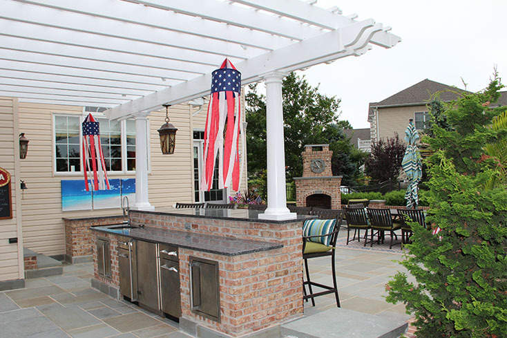 patio pergola design for outdoor kitchen