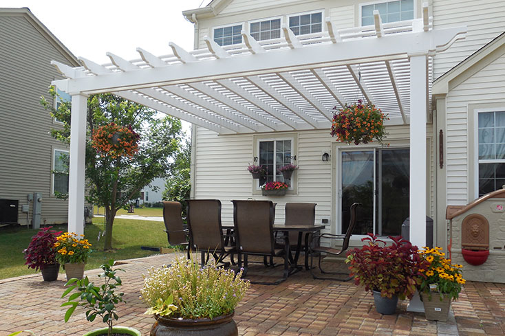pergola over a patio with plants