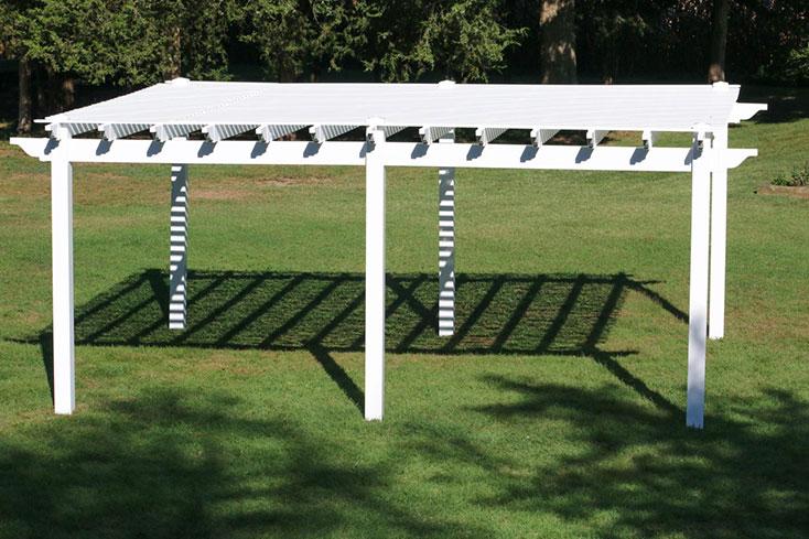 free standing pergola on grass